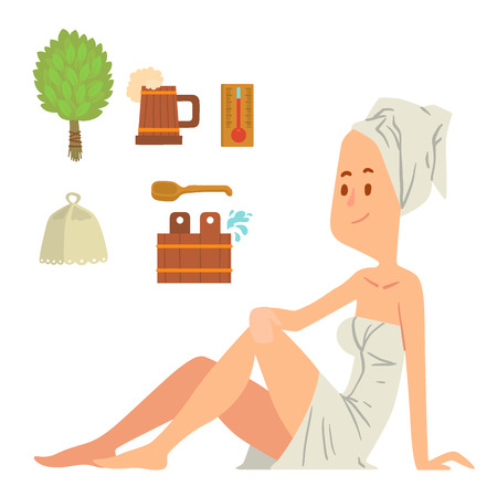 Girl washing face and taking a bath illustration.