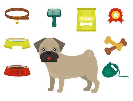 Pug dog playing vector illustration