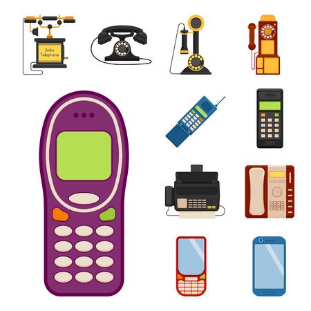 Vector vintage phones llustration.