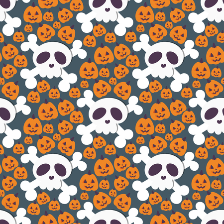 Skull bones human face halloween horror crossbones fear scary vector illustration seamless pattern background. Stock Vector - 88526321