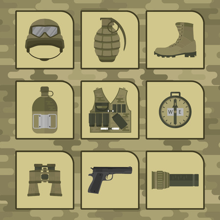 Military weapon guns symbols armor set Ilustrace