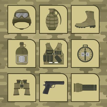 Military weapon guns symbols armor set Illustration
