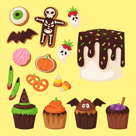 Halloween cake symbol traditional horror design icon Illustration