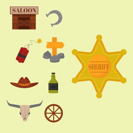 Vintage westelijke cowboys tekenen Amerikaanse symbolen