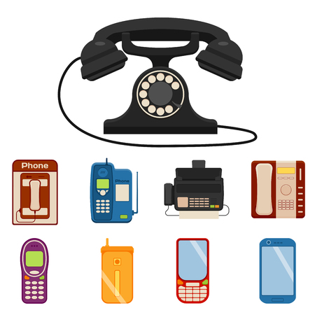 Vector vintage phones retro lod telephone call number connection device technology receiver classic communication illustration. Antique line rotary office telephonic connect Illustration