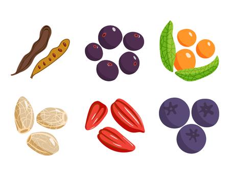 채식 음식 건강 한 야채와 과일 레스토랑 요리 만화 베리 벡터입니다. 스톡 콘텐츠