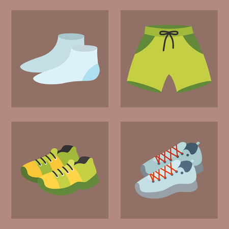 Sportswear running clothes runner gears for sport workout vector illustration