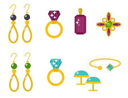 Vektor Schmuck Artikel Gold Eleganz Edelsteine ??kostbare Zubehör Mode Illustration Standard-Bild - 88613243