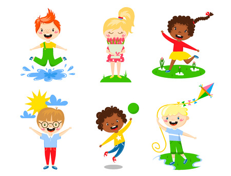 Kids play enjoy spring arrival warm summer little characters happy playing watering flowers jumping in puddle carries bouquet running sun launching kite vector illustration. Illustration