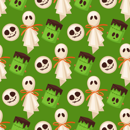 Halloween cookie seamless pattern background food night cake party trick or treat candies vector illustration. Vettoriali