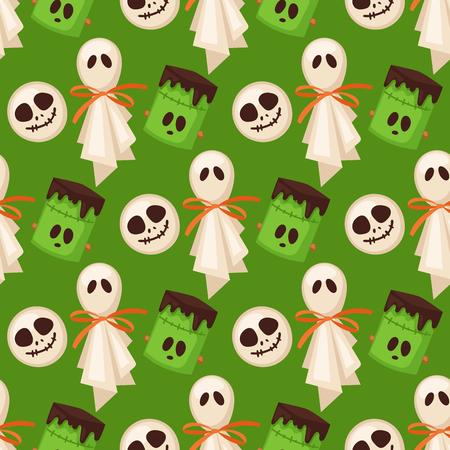 Muster-Hintergrundlebensmittelnachtkuchen-Partei Süßes sonst gibt's Saures Halloween-Plätzchen nahtlose Süßigkeitsvektorillustration. Standard-Bild - 88613219
