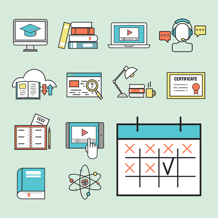 Flat design icons online education staff training book store distant learning knowledge vector illustration