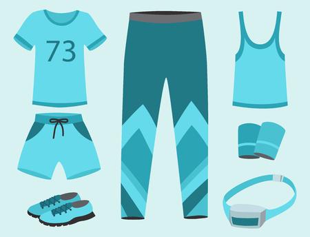Sportkleding met kleren voor sport training vectorillustratie.