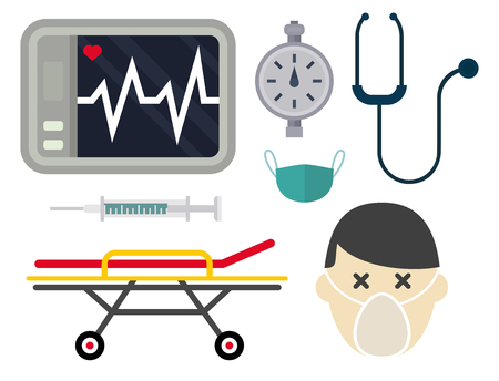 Ambulance icons vector set. Medicine health emergency hospital symbol. Urgent pharmacy pill support paramedic treatment clinic vehicle design. Stock fotó