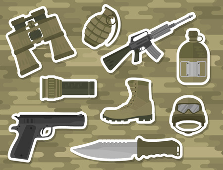 atomic bomb: Military weapon guns symbols armor set forces design and american fighter ammunition navy camouflage sign vector illustration. Uniform battle sniper automatic special tools.