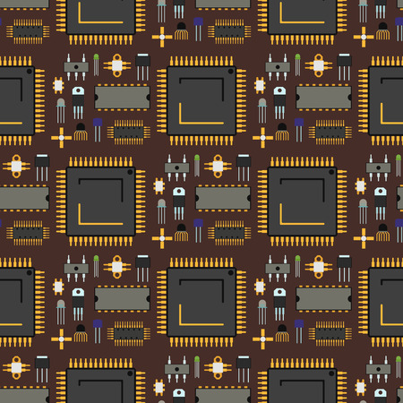 Computer chip technology processor circuit and motherboard information system vector illustration. Electronic board energy microprocessor seamless pattern background line connect graphic.