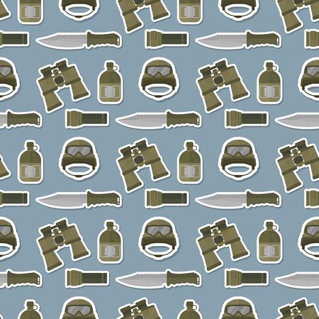 군사 현대 위장 헬멧 군대 보호 원활한 패턴 배경 군인 제복 모자 보호 철강 무장 장비 벡터 일러스트 레이 션. 카키색 위장 생존 방어 헤드 커버입니다