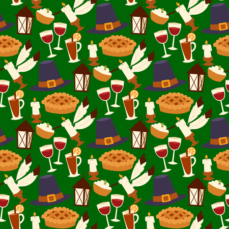 Happy thanksgiving day design holiday seamless pattern background fresh food harvest autumn season vector illustration
