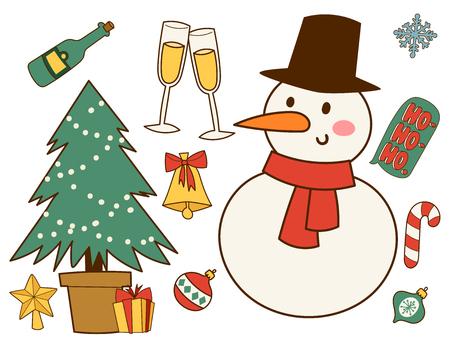 Christmas greeting card stickers symbols vector winter celebration design holidays winter decoration ornament illustration.