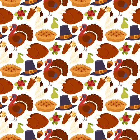 Happy thanksgiving day design holiday seamless pattern background fresh food harvest autumn season vector illustration