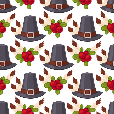 Happy thanksgiving day hats design holiday seamless pattern background harvest autumn season vector illustration Ilustrace
