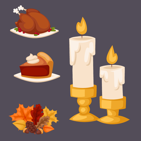 Happy thanksgiving day design holiday objects fresh food harvest autumn season vector illustration