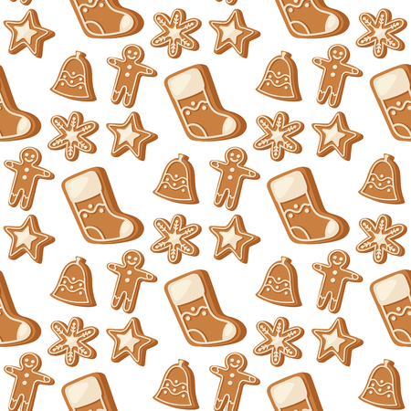 Cookie traditional christmas food seamless pattern background desserts holiday decoration xmas sweet celebration meal vector illustration.