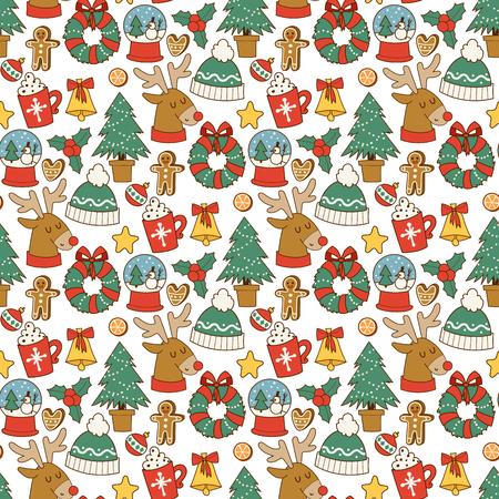 Christmas greeting card stickers in seamless pattern background. Winter celebration design. hHolidays ornament illustration. Иллюстрация