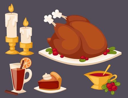 Happy thanksgiving day design holiday objects fresh food harvest autumn season vector illustration