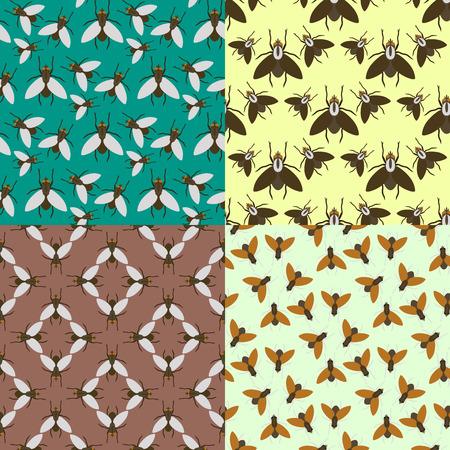 飛ぶ昆虫野生動物昆虫バグ動物自然カブトムシ生物学の話題アイコン ベクトル イラスト パターン シームレスな背景  イラスト・ベクター素材
