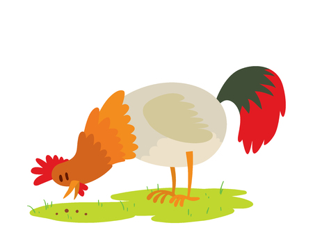 Cute cartoon rooster vector illustration chicken farm animal agriculture domestic bird character. Illustration