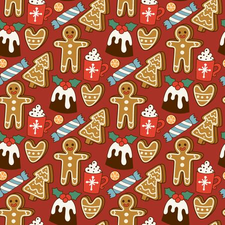 Traditional christmas food seamless pattern desserts holiday decoration xmas sweet celebration vector illustration. Illustration