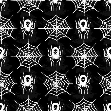 Spiders and spider web silhouette spooky seamless pattern background halloween vector cobweb decoration fear spooky net. Çizim