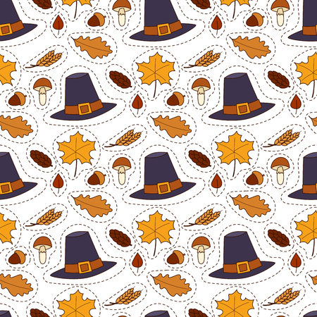 Happy thanksgiving day hats design holiday seamless pattern background harvest autumn season vector illustration Stock Photo