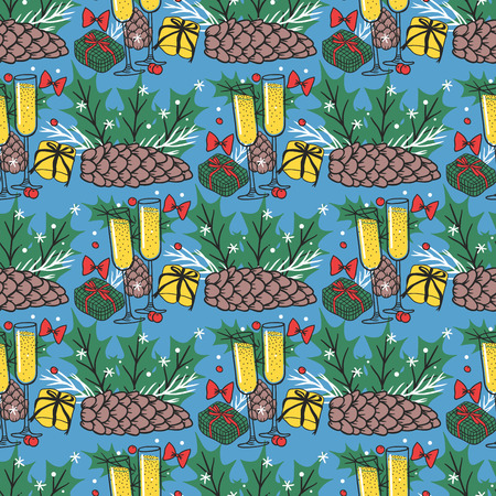 Christmas seamless pattern hand drawn style holiday wallpaper decoration vector background