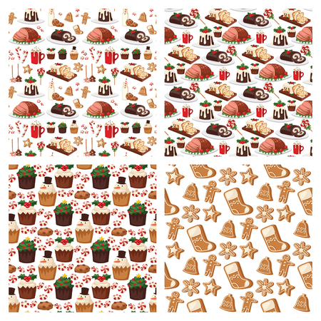 Christmas food and desserts holiday decoration xmas sweet celebration vector traditional festive winter cake homemade dish seamless pattern background. Illustration
