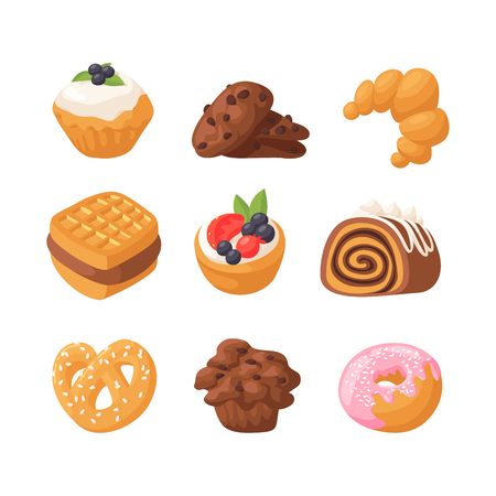 Cookie cakes tasty snack delicious chocolate homemade pastry biscuit sweet dessert bakery food vector illustration 向量圖像
