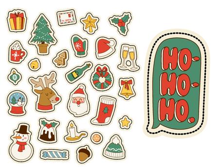 Christmas wenskaart stickers symbolen vector winter viering ontwerp vakantie winter decoratie ornament illustratie.