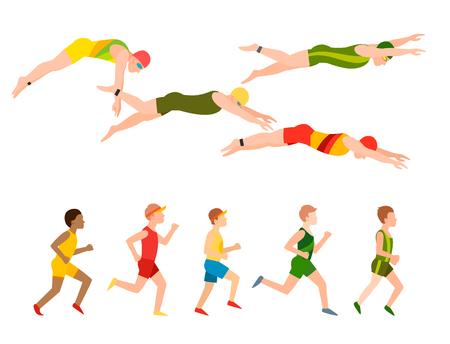 Ilustración vectorial de natación estilo esquema diferentes nadadores hombre y mujer en la piscina ejercicio deportivo. Foto de archivo - 90221758