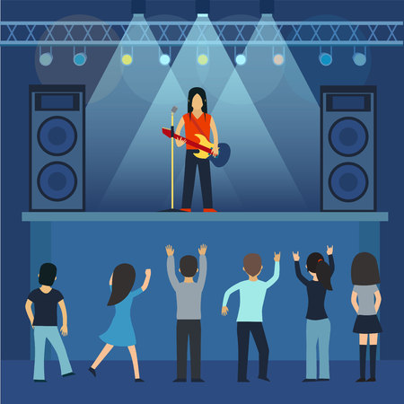 Concert pop group artists on scene music stage night and young rock metall band crowd in front of bright nightclub stage lights vector illustration. Illustration