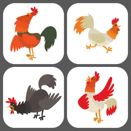 Cute cartoon rooster vector illustration chicken farm animal agriculture domestic bird character. Фото со стока - 90221838