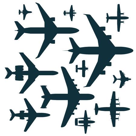 ベクトル飛行機イラスト シルエット航空機輸送の方法デザイン旅速航空を旅行します。