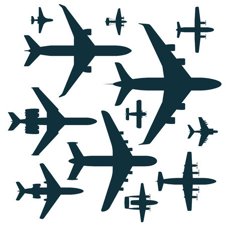 Vector airplane illustration silhouette aircraft transportation travel way design journey speed aviation. 向量圖像