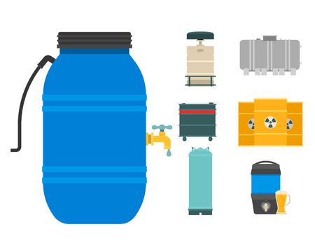 Lo stoccaggio del barile del combustibile del contenitore di tamburi di petrolio rema l'illustrazione chimica di vettore delle navi chimiche dei serbatoi di capacità dei carri armati naturali di capienza del metallo Archivio Fotografico - 90221494