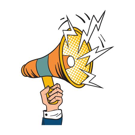 Loudspeaker comic book pop art retro style megaphone design vector illustration. Illustration