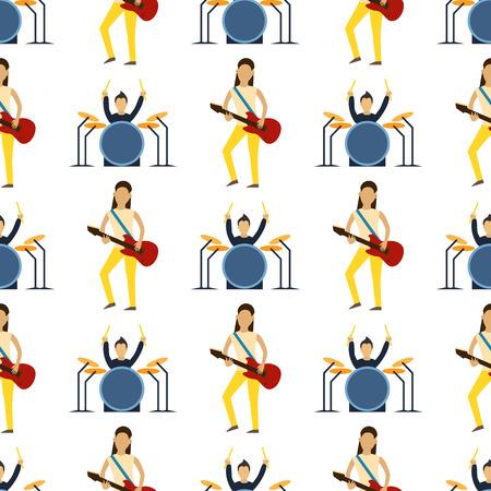 Gioco del musicista del fumetto sull'illustrazione senza cuciture di vettore del fondo del modello di intrattenimento della canzone dell'artista acustico acustico moderno della chitarra. Archivio Fotografico - 90306846