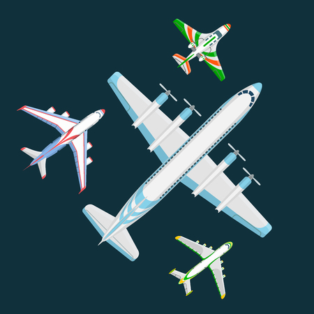 Vector airplane illustration top view and aircraft transportation travel way design journey speed aviation. Illustration