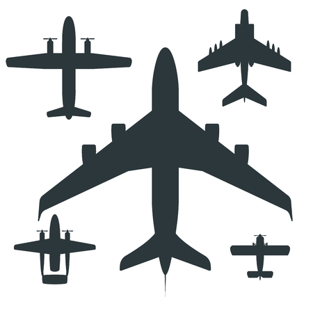 Vector airplane illustration silhouette aircraft transportation travel way design journey speed aviation. Ilustração