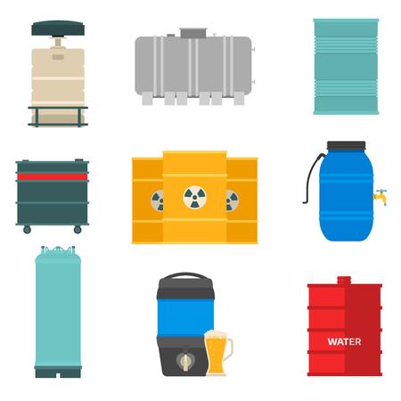Olie drums container brandstof vat opslag rijen stalen vaten capaciteit tanks natuurlijke metalen darmen chemische vaartuig vector illustratie Stock Illustratie