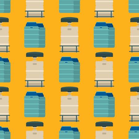 Oil drums container fuel cask storage rows steel barrels capacity tanks natural metal bowels seamless pattern background vessel vector illustration Illustration